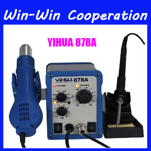 YIHUA 878A 700W SMD Rework Station Portable Handheld Temperature Controlled Soldering Stations with hot air gun and solder iron(China (Mainland))