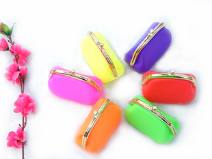 Silicone women purse key wallet silicon storage bag fashion design gift for friends free shipping