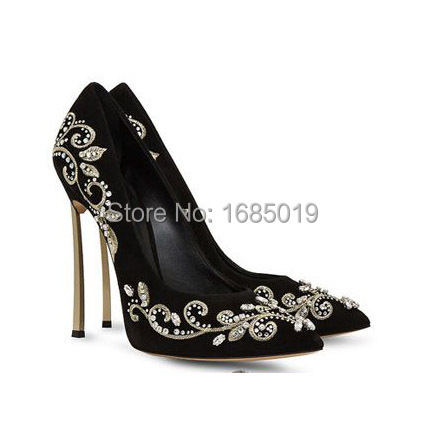 New Arrival Bright Suede Embroidered Hand-Stitched Crystal Evening Pumps with  Blade lacquered heel J202<br><br>Aliexpress
