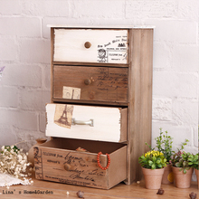 Europe Cottage Small Shabby Chic Solid Wood 4 Drawers Cabinet(China (Mainland))