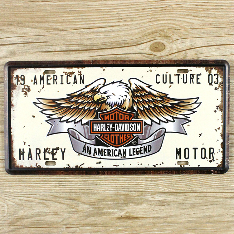 """LKB-X-015 Free shipping License Plates car number """" motorcycle brand """" Home decor Wall art craft vintage Iron for bar 15X30 CM(China (Mainland))"""