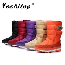 2016 de la Marca de Esquí de Tela Botas de Nieve de Las Mujeres Botas de Invierno Impermeables botas de Nieve Zapatos de Becerro Suave para el Otoño Rose Red y Negro y rojo y Azul(China (Mainland))