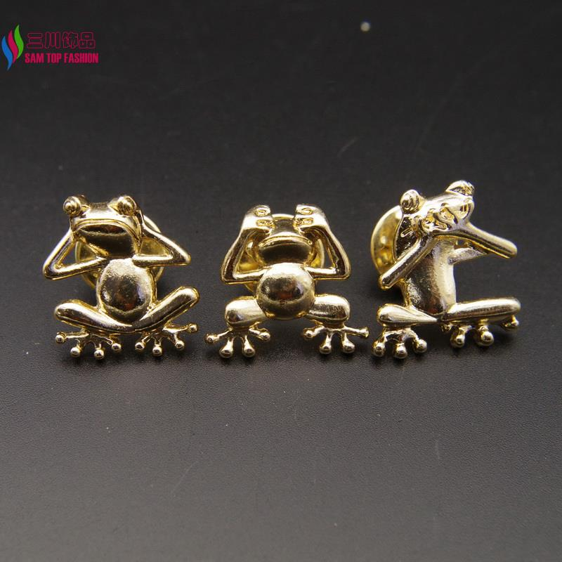 2016 hot fashion girls cute gold plated alloy Do not listen/Do not see/Do not say Frog figure costume brooch stud pins broches(China (Mainland))