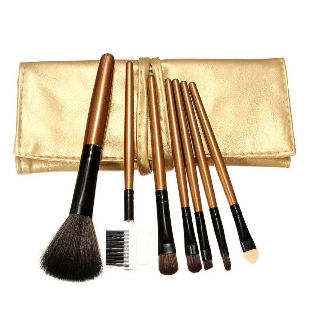 Professional 7pcs/set Hot Sale Cosmetic black Brushes Sets Lip Eyebrow Shadow Blush Brush Portable Makeup Tools With gold Bag(China (Mainland))