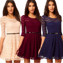 2014 New Women Summer Casual Dresses Sexy Spoon Neck 4 Colors 4 Sizes Three Quarter Sleeve Skater Lace Dress With Belt 5004(China (Mainland))