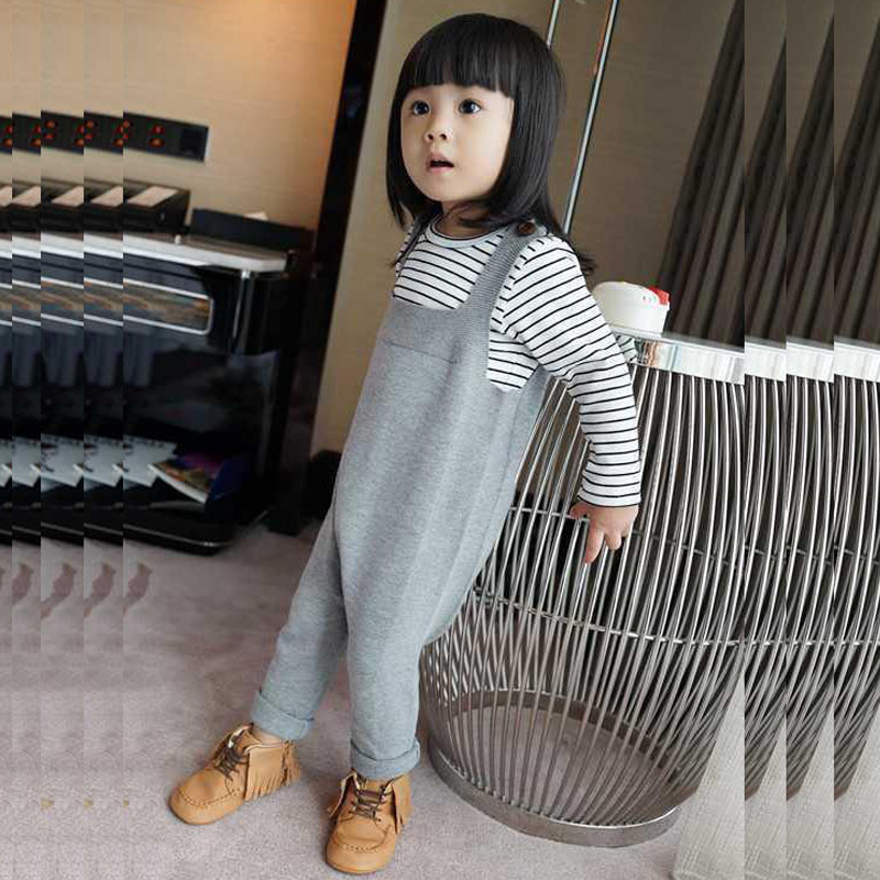 2016 Spring Bobo Choses Baby Jean Overalls Boys Girls Cotton Harem Knitted Pants Baby Kids Toddlers