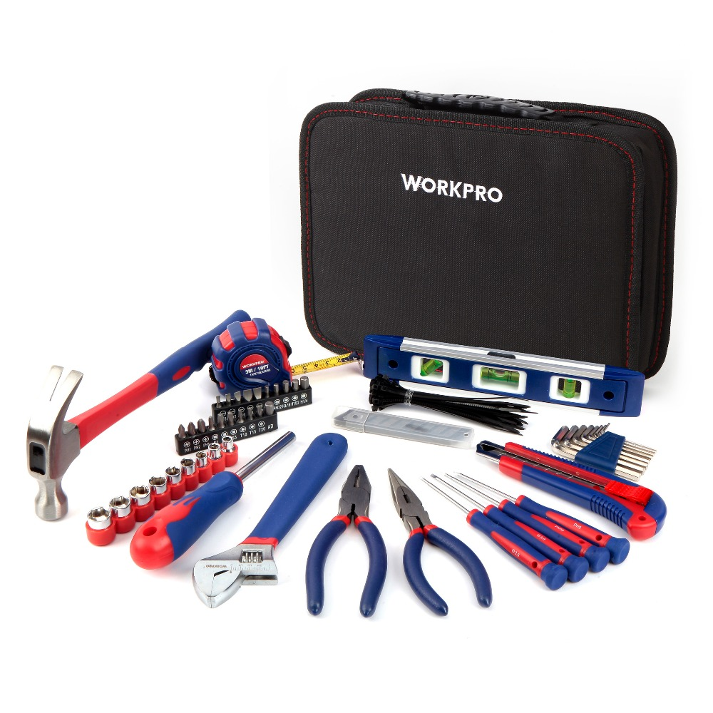 WORKPRO 100 In 1 Home Mechanic Tool Kit DIY Portable Tool Set with Tool Kit Bag for Woodworking Electrical Tool Set(China (Mainland))