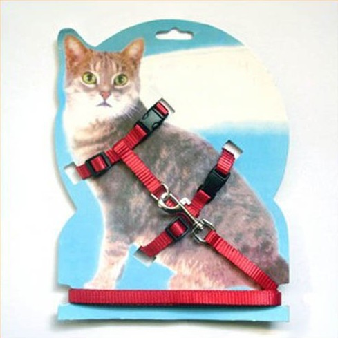 Adjustable Safety Control Pet Cat Belt Nylon Lead Leash Halter Harness Clasp Red and Black Rope(China (Mainland))