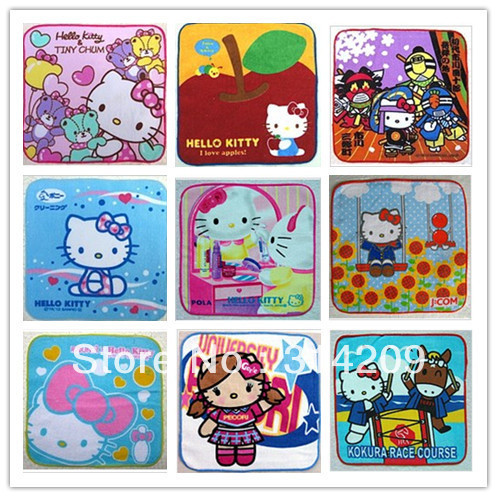 Free shipping, 20*20cm Hello Kitty Series-B Mixed Design-100% cotton, Small soft towel, Children's lovely towel-20 pcs/lot