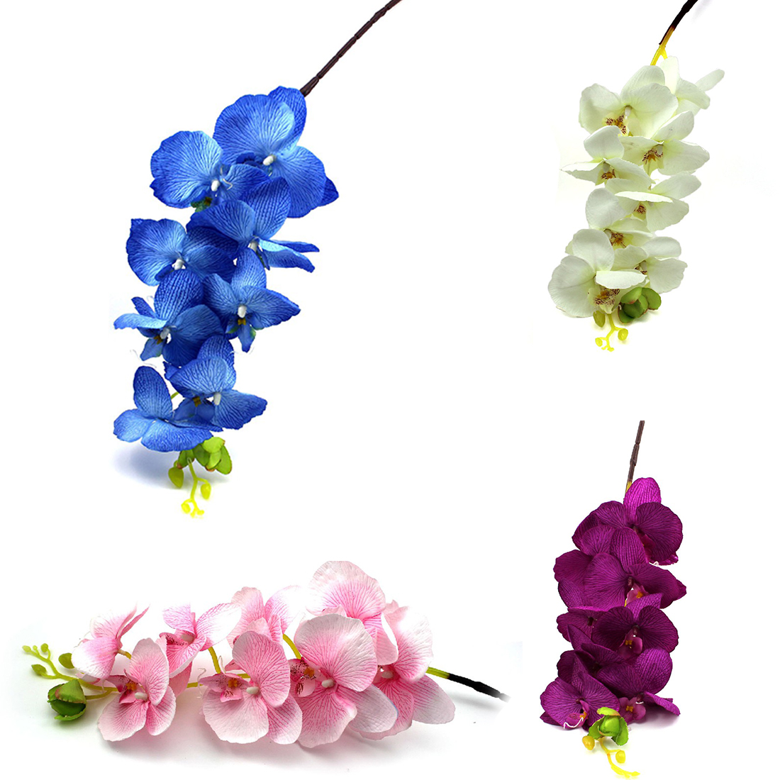 Wholesale 8Pcs Artificial Fake Flower Butterfly Orchid Silk Flower Home Wedding Party Decor Phalaenopsis Flower Arrangement(China (Mainland))