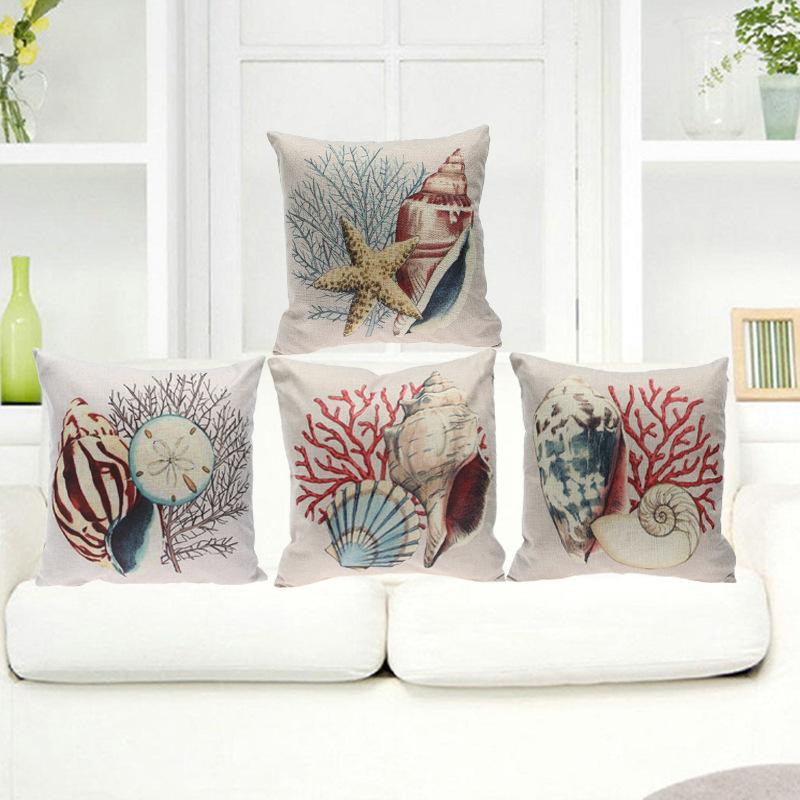 Sea Marine life Cushion Cover Cotton Linen Cushion Cover Sofa Car Chair Seat Throw Pillowcase Decorative Pillows Aquarium(China (Mainland))
