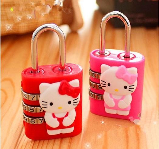 Free Shipping Kawaii Cartoon Hello Kitty&Rilakkuma Mini Padlock,Travel Luggage Bag Lock,Cartoon Lock,Suitcase Padlock KCS(China (Mainland))