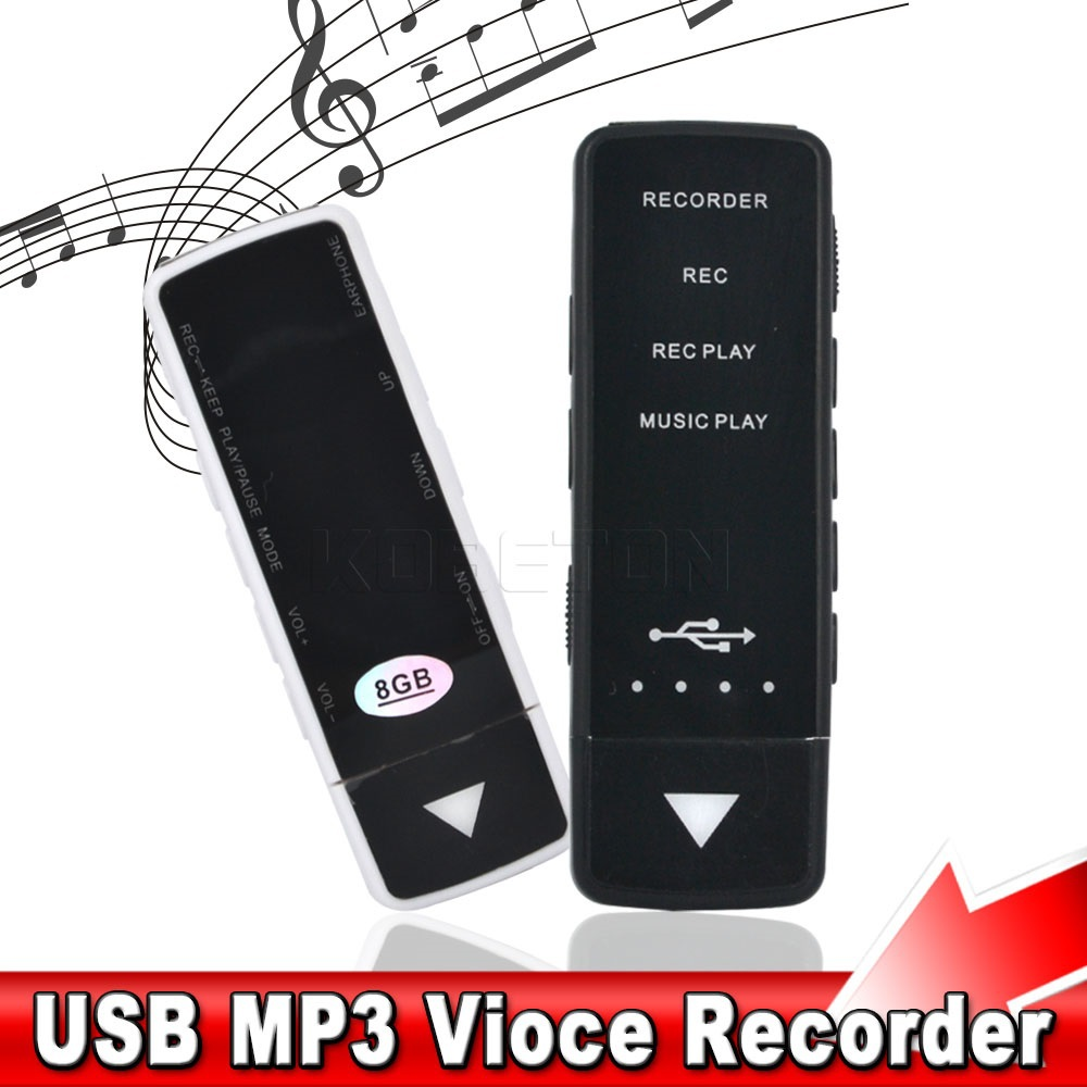 2015 Newest REC HQ Digital USB MP3 disk Voice Recorder 3 in 1 device 8GB Memory with mp3 player built-in Li-ion battery(China (Mainland))