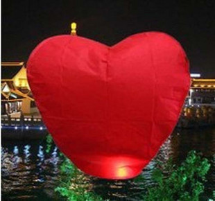 Hot Sell 10-Pack: Red Heart Sky Lanterns Chinese Paper Sky Candle Fire Balloons for Wedding / Anniversary / Party