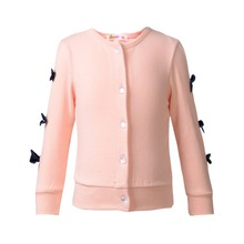 Free Shipping Girl Knit Cardigan Cotton Bow knot Baby Girl Blouses Kid Outwear O Neck Long