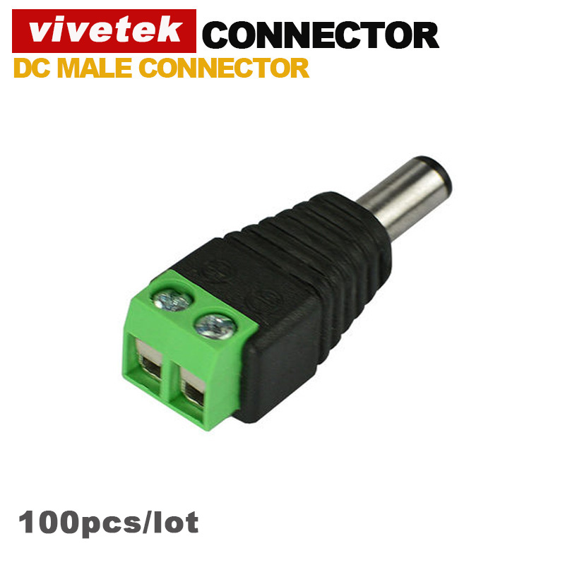 Wholesale 100pcs 2.1x5.5mm DC Power Male Jack Plug Adapter Connector for cctv camera(China (Mainland))