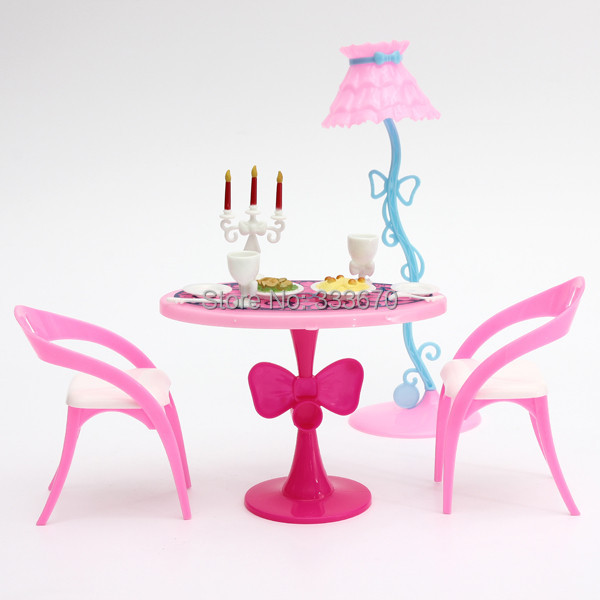 Graceful Vintage Table Chairs For Barbie Furniture Dining Sets Toys For Girl Kid Child For Pink Free Shipping(China (Mainland))