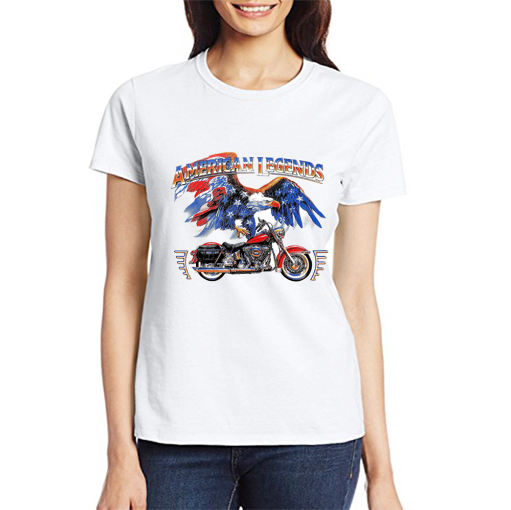 TEEHEART Women's American Eagle Motorcycle Print T-Shirt Women Summer Modal T shirt Hipster Tees px812(China (Mainland))