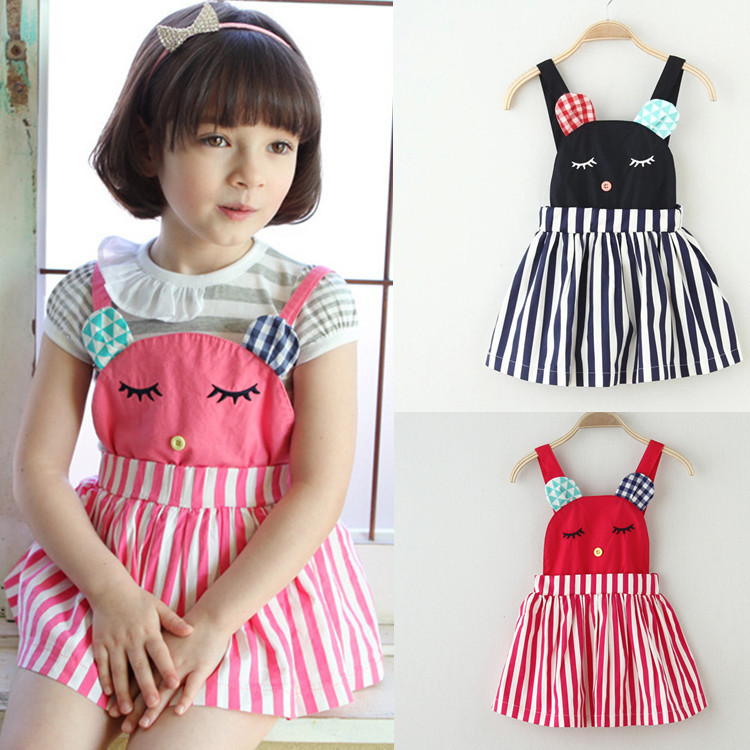 summer cartoon girls suspenders cat catmini overall dress for toddler little small kids age size 2 3 4 5 6 7 years old(China (Mainland))