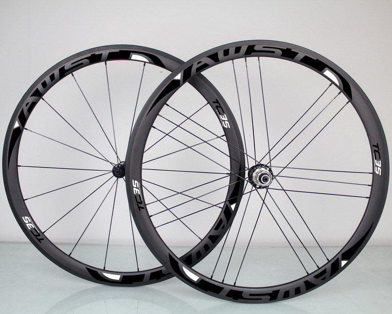 38mm AWST wheels 50m carbon road Wheels rear matte carbon clincher wheelset glossy sticker 3k 700c bicycle wheels<br>