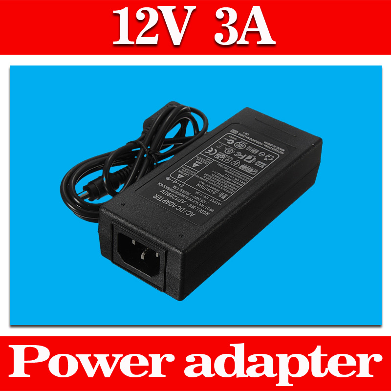 New 2.1x2.5mm Jack Plug AC 100-240V Adaptor To DC 12V 3A 36W Power Supply Adapter For LED Light LCD Monitor CCTV(China (Mainland))