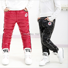 New2015 down pants wear outside thickening PU bright surface waterproof down pants boy girl winter cotton trousers free shipping(China (Mainland))