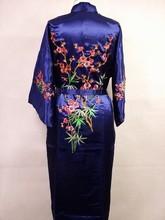 Navyblue Silk satin Women Embroidery Robe Gown Kimono Bathrobe Sleepwear RB0031 Size S M L XL XXL XXXL RB0031(China (Mainland))