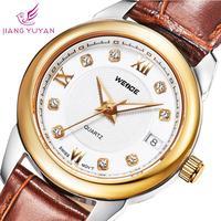 New WEIDE fashion quartz genuine leather straps watches calendar analog ladies watch 2015