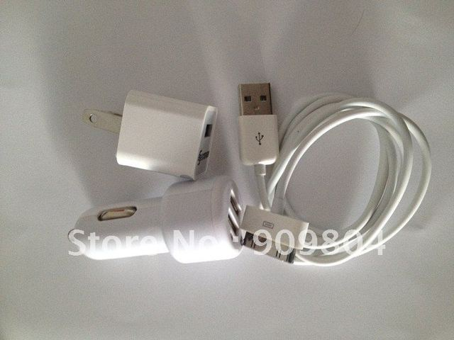 3in1 US Plug AC Wall & Dual USB Car charger & USB Data Sync Cable for iPhone 4 4S 3G(White)