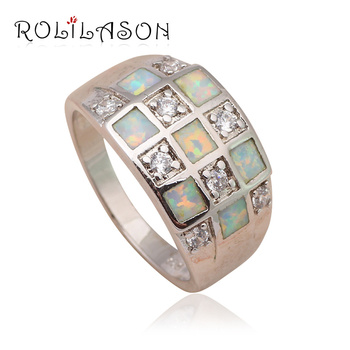 Shining Zirconia Green fire opal Silver Stamped High quality Women Wedding Health Fashion Jewelry Ring USA Sz #6#7#8#9 OR608