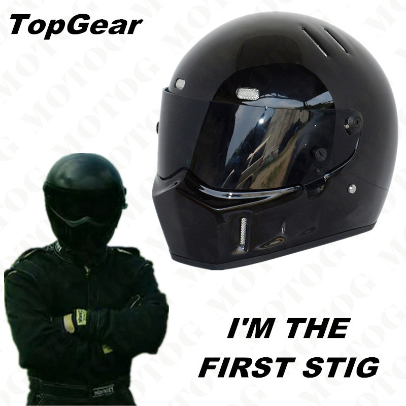 NEW High quality FRP Full Face Motorcycle helmet TopGear Black Stig helmet for Kart riding with a face mask(China (Mainland))