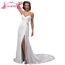 New Arrival 2016 White Rhinestones Wedding Dress Bridal Gowns Dresses Halter Chiffon Sweep Train Vestido De Noiva(China (Mainland))