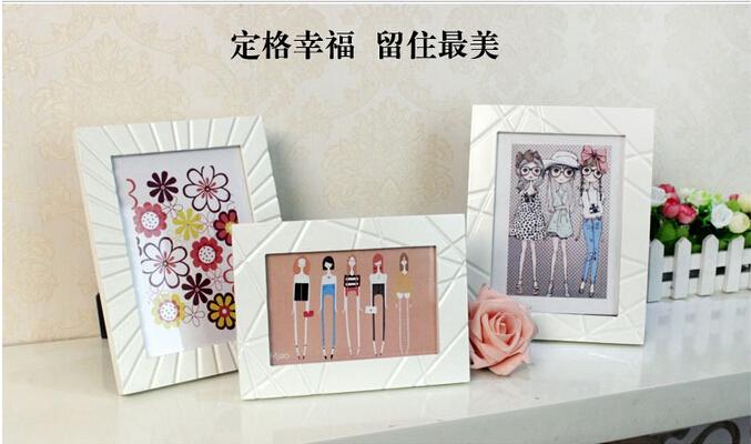 Creative wedding photo frame Photo frame table 6 inch rural white wooden photo frame(China (Mainland))