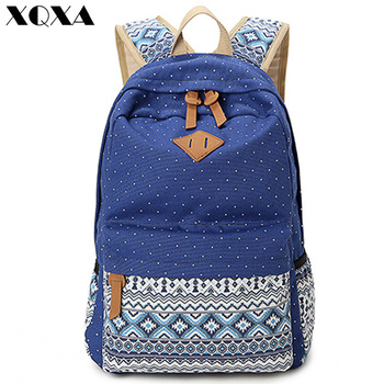 XQXA Vintage Girl School Bags For Teenagers Cute Dot Printing Canvas Women Backpack Mochila Feminina Casual Bag School Backpack
