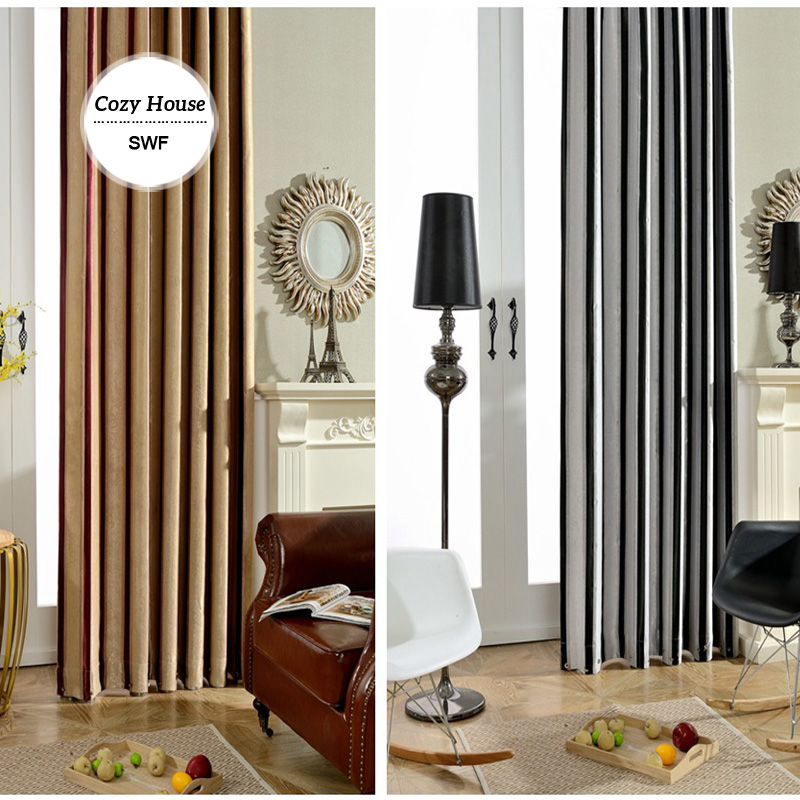 Striped modern curtain blackout curtains for bedroom black white blinds drapes for living room for Black and white striped bedroom curtains