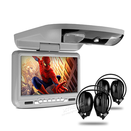 """9"""" Car Roof Mounted DVD Player Flip Down Monitor With Game Function Overhead Media Player Ceiling With 2 PCS Headphones For Free(China (Mainland))"""