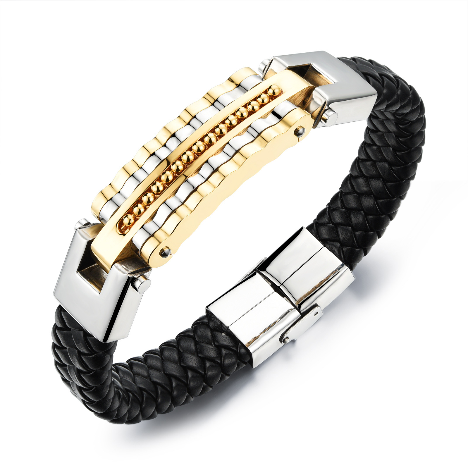 Jewelry Punk personality Men's Woven leather cool man Bangles &bracelets stainless steel rock man Bracelet(China (Mainland))