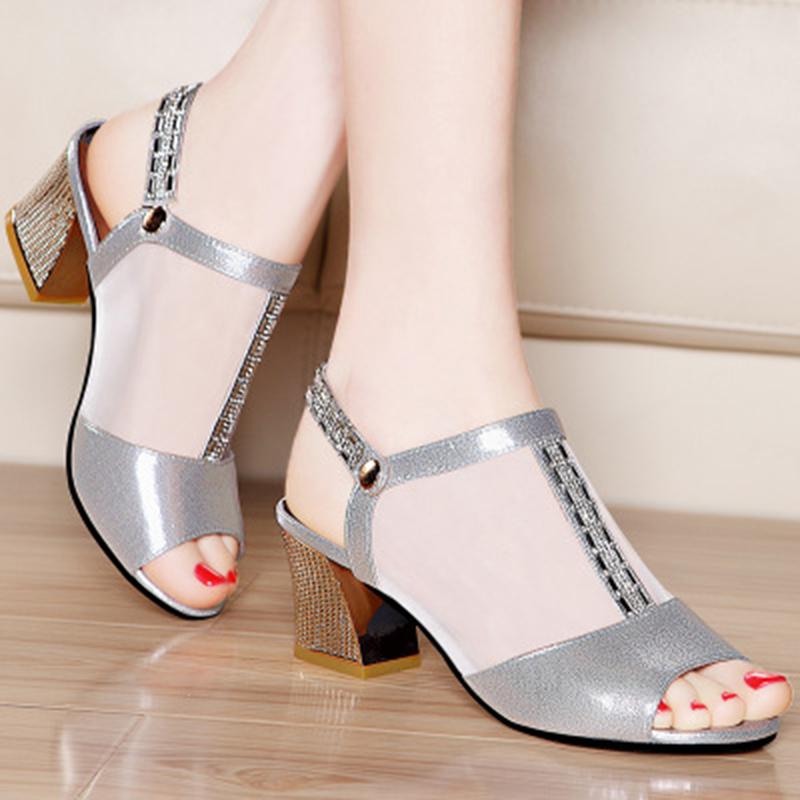 Rhinestone Evening Shoe Gold Silver Belt Buckle Mesh Chunky Open 2016 New Wedding Dress Women Shoes Peep Toe High Heels Pumps<br><br>Aliexpress