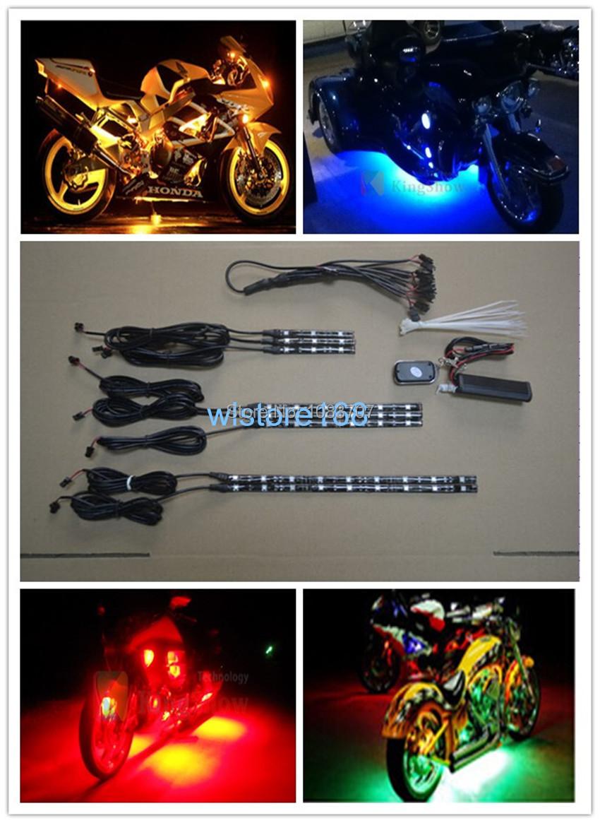 8pc RGB 45-LED Motorcycle Lighting BLUE/RED/GREEN/YELLOW Neon Glow Light Strips Set Kit(China (Mainland))