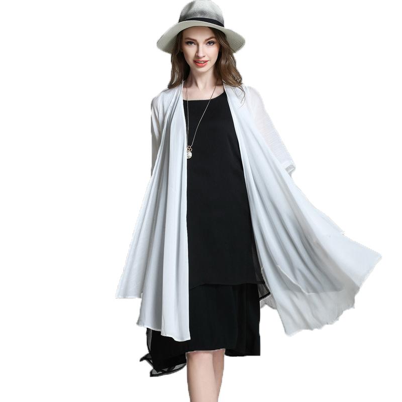 Kimono Cardigan Long Plus Size Summer White Chiffon Blouse