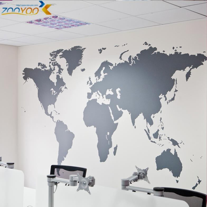world map wall stickers home decorations zooyoo8278 diy removable vinly wall decal study room living room wall decals diy(China (Mainland))