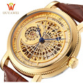 OUYAWEI Royal Diamond Design Black Gold Watch Montre Homme Mens Watches Top Brand Luxury Relogio Male Skeleton Mechanical Watch