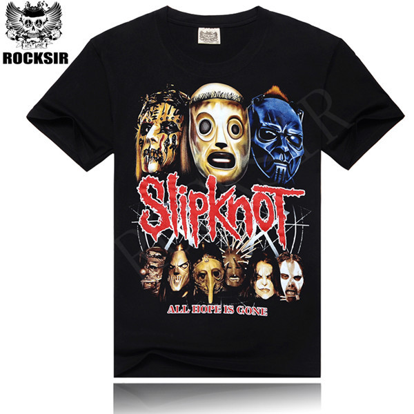 2014 Newest style Silk sreen 100% cotton round neck Printing men's Black short sleeve slipknot music band T-shirt(China (Mainland))