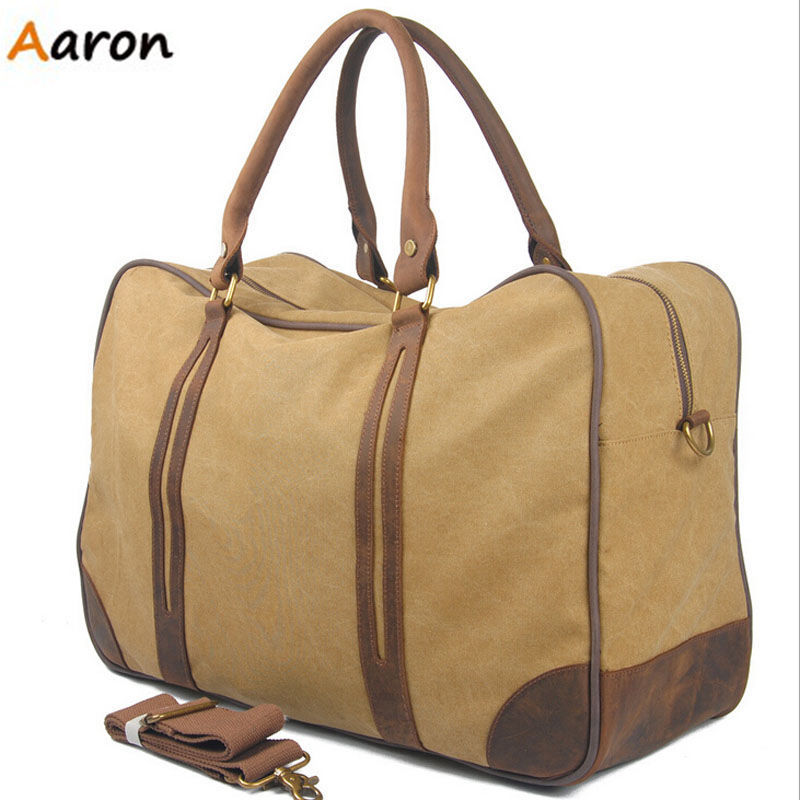 Aaron -Durable Men Travel Bags, Large Capacity Travel Duffle Bag,Canvas&Genuine Leather Travel Shoulder Bag,Best Luggage Brands(China (Mainland))
