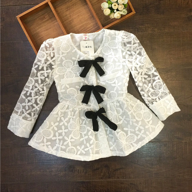 2015 spring summer flower mbroidery lace clairvoyant blouses bow princess girls Cardigan style blouse suit