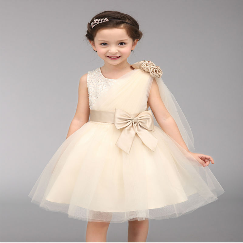 Kids Dresses For Girls Direct Selling Solid The New Arrival 2016 Child Dress, Bow Sequins Beaded Flower One Shoulder Girl Dress(China (Mainland))