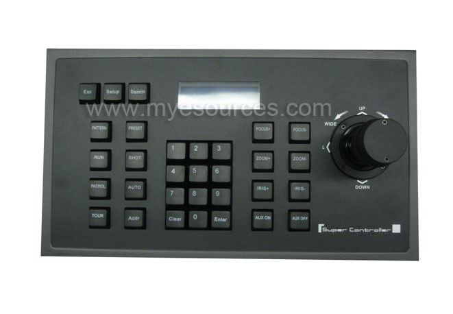 LCD display 3D rocker easy to control Alarm switch RS485/RS232/RS422 PTZ CCTV keyboard controller for speed dome security(China (Mainland))