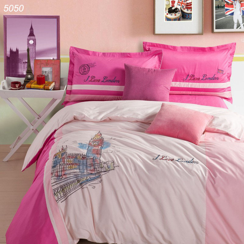 London big ben bedding pure cotton bed set clock bed linens 40s bed cover enbroidery wedding 4pcs bedding set home textile 5050(China (Mainland))