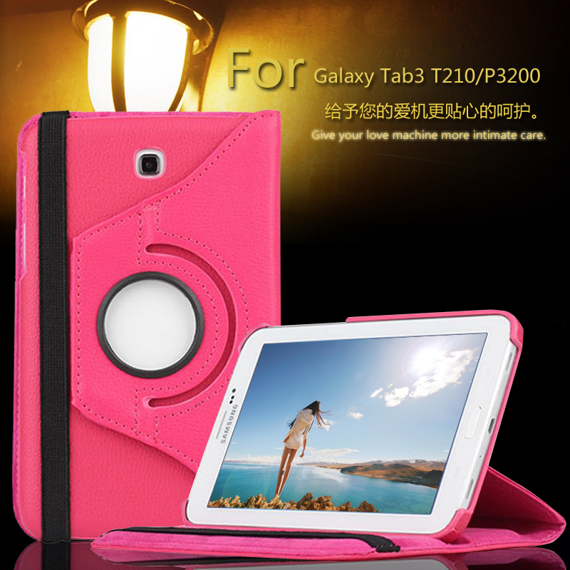 Luxury 360 Rotating PU Leather 2Folds Cover Case for Samsung Galaxy Tab 3 7.0 T210 T211 P3200 P3210 7 inch Stand Skin Tablet PC(China (Mainland))