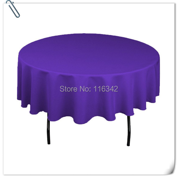 Hot sale &hot sale !! ! 10 pieces 108 '' round Puprle polyester table cloth/table linens FREE SHIPPING(China (Mainland))